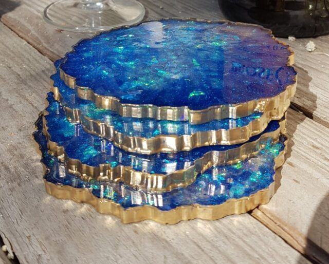 gold plated best agate stone coaster