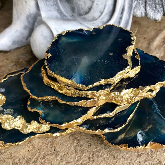 Gold Plated Agate Coaster For Export