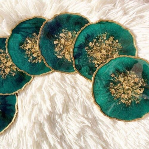 green agate stone coaster
