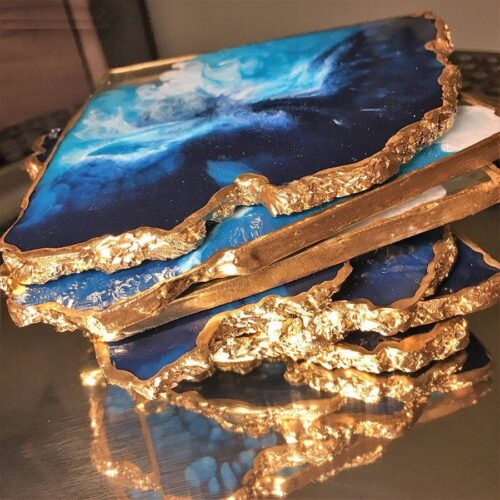 gold plated agate stone coaster