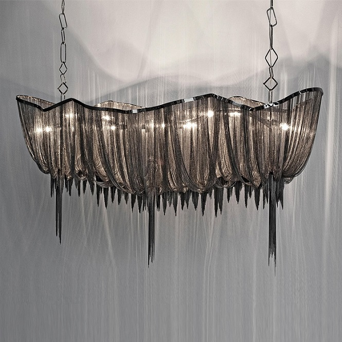Aluminum Chain Based Modern Chandelier Lighting For Hotel