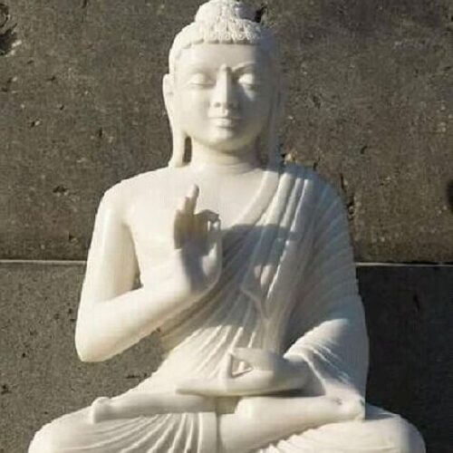 White Marble Hand Crafted Sculpture of Buddha