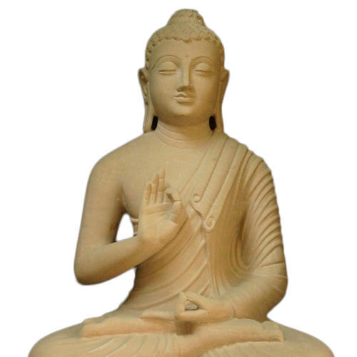 Hand Crafted Sandstone Sculpture of Buddha
