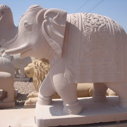 Handcrafted Stone Sculpture of Elephant