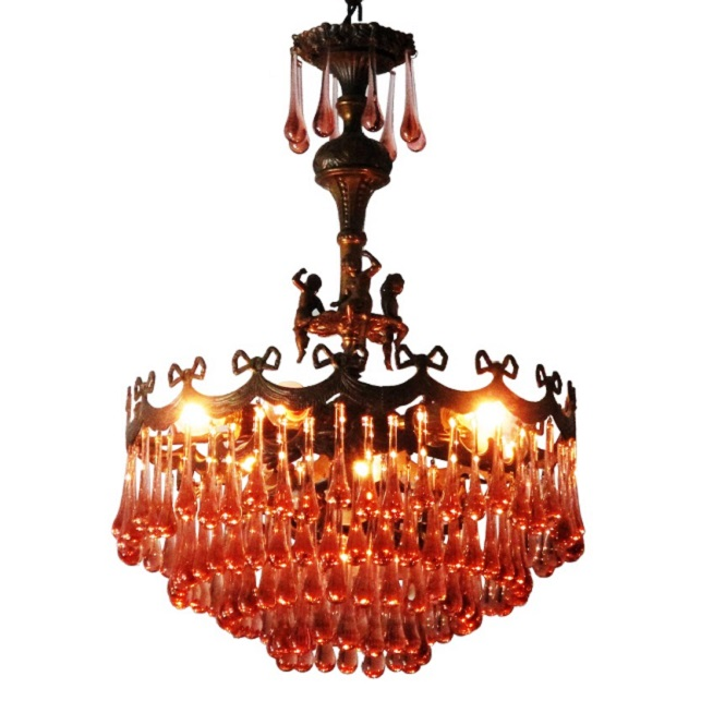 Vintage Murano Glass Droplet Chandelier with Cherubs