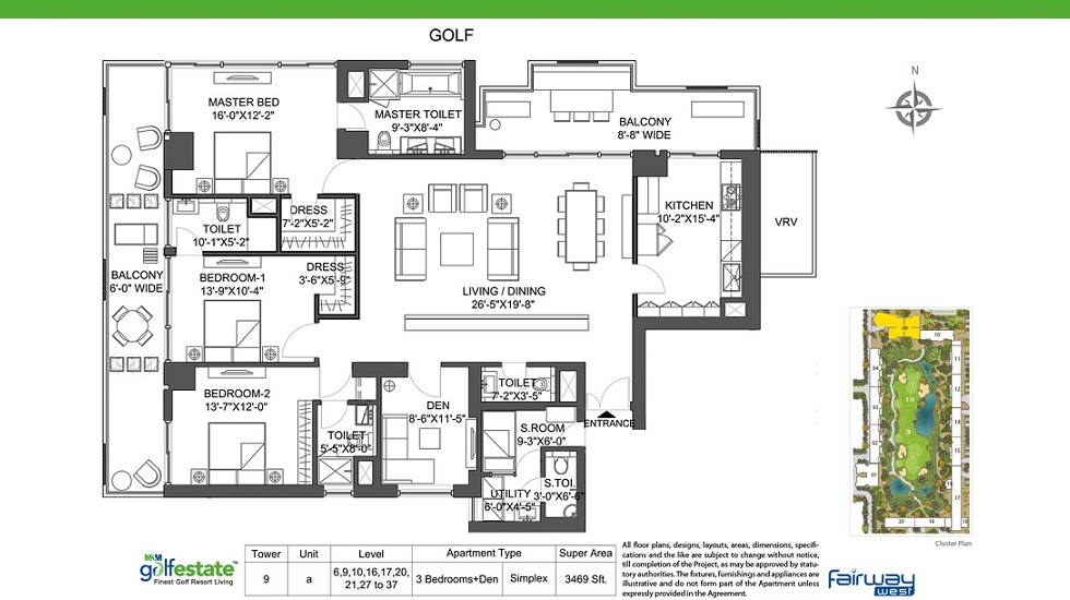 M3M Golf Estate Fairway West Tower 9 A Size 3469 Sq. Ft.