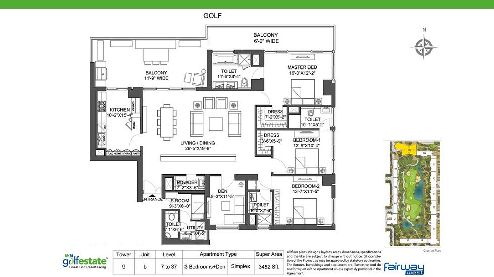 M3M Golf Estate Fairway West Tower 9 B Size 3452 Sq. Ft.