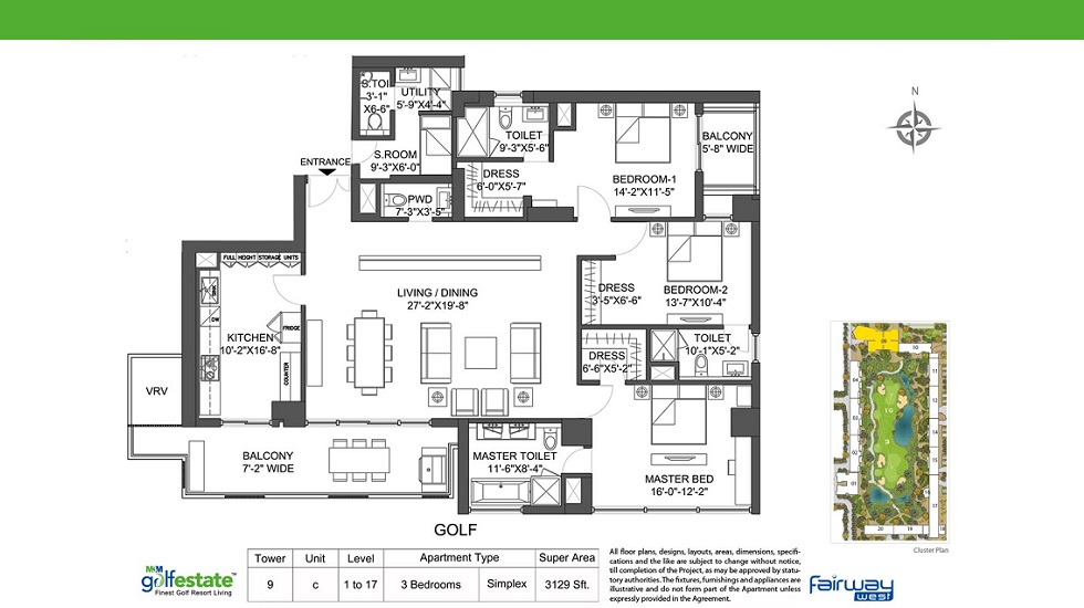 M3M Golf Estate Fairway West Tower 9 - C Apartment Size 3129 Sq. Ft.