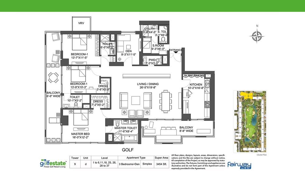 M3M Golf Estate Fairway West Tower 9 - D Apartment Size 3454 Sq. Ft.